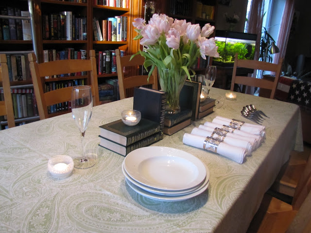 A Table of Books and Flowers